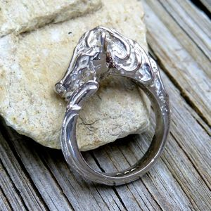 Vintage 925 Wrap Around Horse Head & Tail Ring